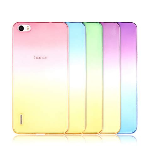Fs Ultrathin Huawei Honor 7i ultra thin ombre rainbow gradient color clear soft silicone cover for huawei honor