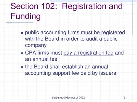 registration section ppt sarbanes oxley act of 2002 powerpoint presentation
