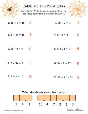 Free Printable Pre Algebra Worksheets With Answers by Pre Algebra Algebra Worksheets And Math