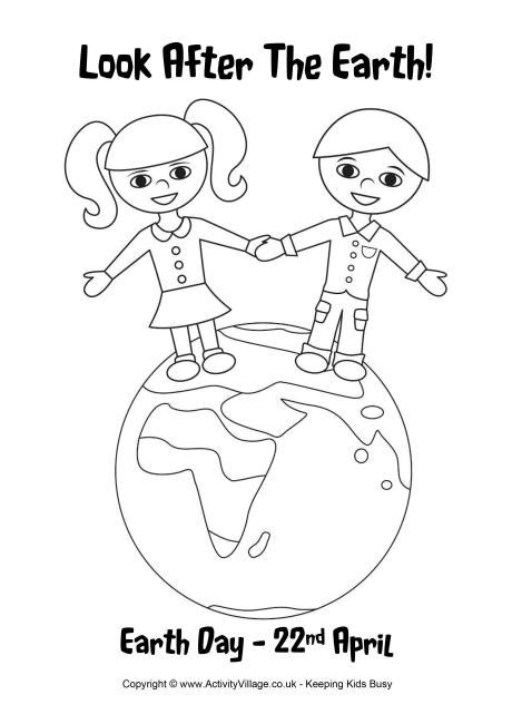 earth day colouring page
