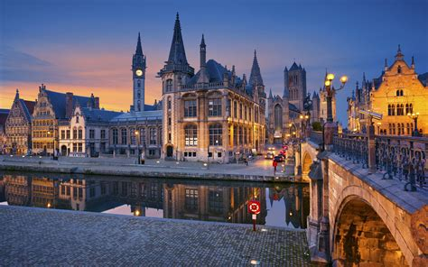 liege europe ghent flanders belgium lights houses river bridge