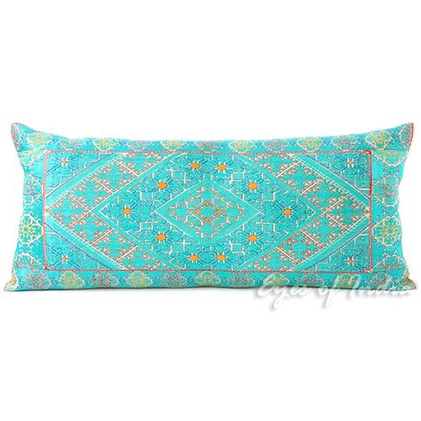 Teal Bolster Pillow by 32 X 14 Quot Teal Embroidered Decorative Bolster Pillow