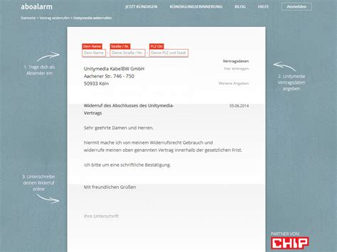 Vorlage Abo Widerrufen Unitymedia Widerruf Vorlage Chip