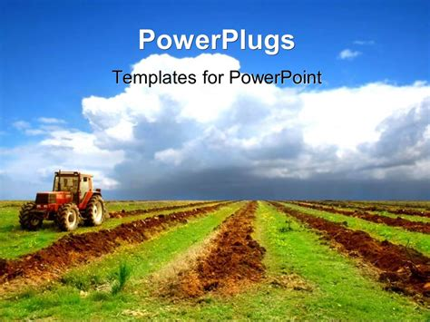Powerpoint Template A Tractor In A Field With Clouds In The Background 1434 Agriculture Powerpoint Templates