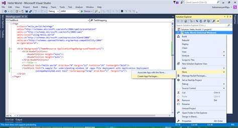 windows 10 xaml tutorial step 1 right click on your project gt store gt create app