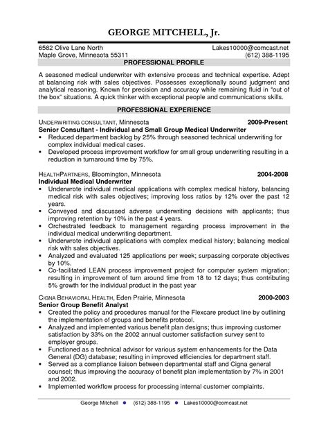 insurance underwriting assistant resume sle insurance underwriter resume sle dadaji us