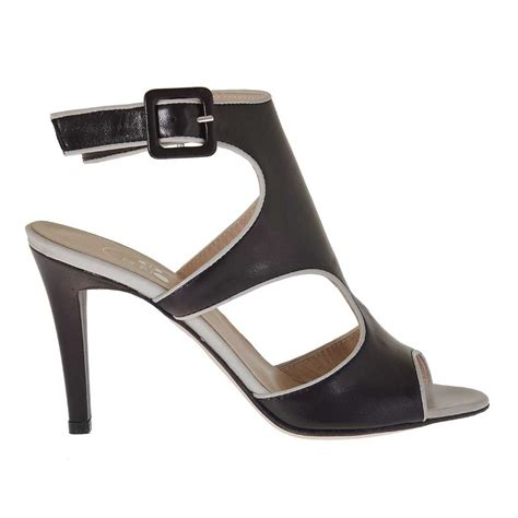 dove grey leather s sandal in black and dove grey leather heel 9