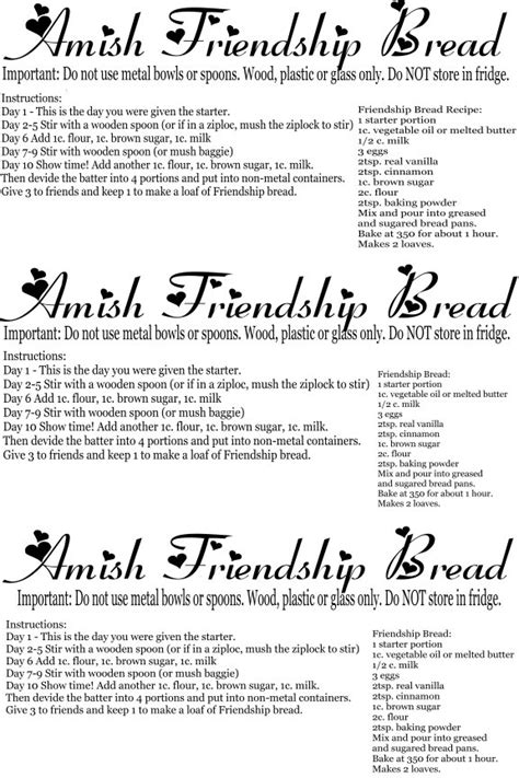 printable directions for amish friendship bread onvldpuju recipes friendship bread