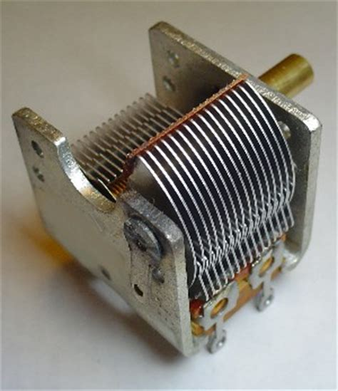 a variable air capacitor used in a radio tuning circuit variable tuning capacitor