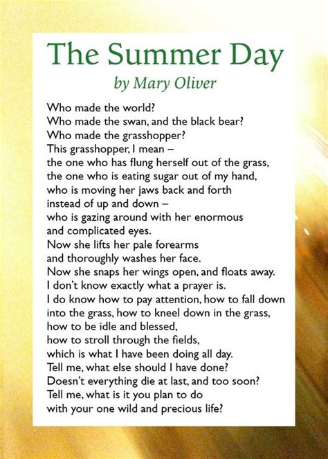 day poem in summertime by oliver poem poetry in motion the