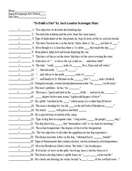 themes in jack london s to build a fire to build a fire by jack london scavenger hunt key by
