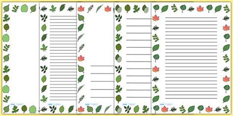 lined paper with leaf border leaf page borders leaf leaves plants flowers borders