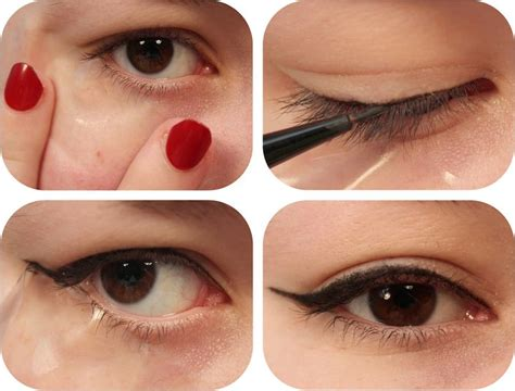 tutorial eyeliner stencil tip use sticky tape to create a perfect cat eye makeup
