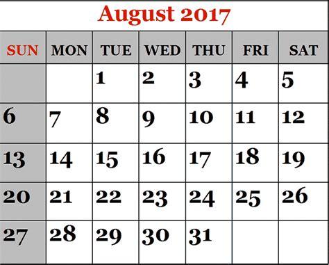 august 2017 printable calendar printable calendar templates