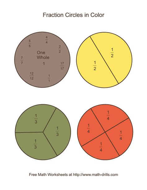 color fraction circles large labeled
