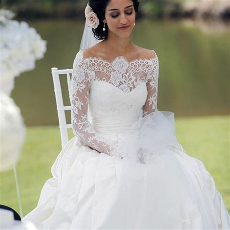 white wedding gowns with sleeves 2016 white sleeves bridal dresses the shoulder