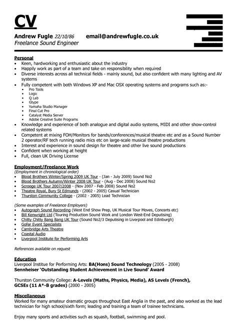 Audio Engineer Resume by Amazing Design Audio Engineer Resume 13 Audio Engineer