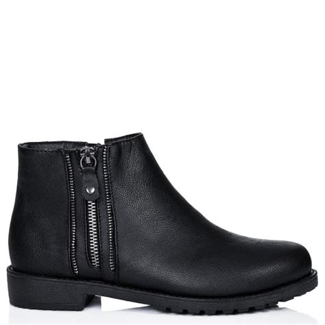 buy motley flat cleated sole zip ankle boots black leather