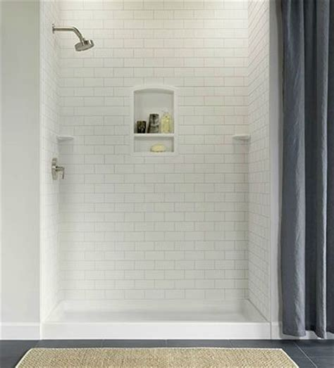 Low Maintenance Shower Tile by Subway Tile Shower With Built In Shelf And Corner Shelves