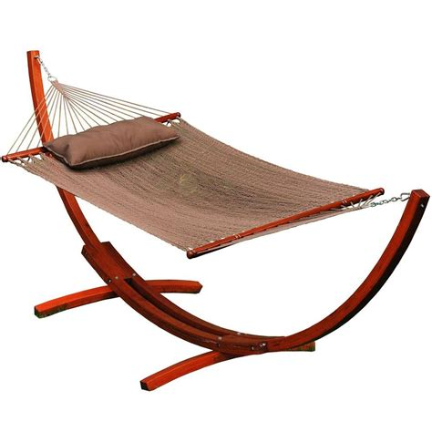 Algoma 11 ft. Caribbean Polyester Rope Hammock with Wooden Arc Stand 67104914SP The Home Depot