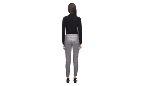 26121 Gray Stretch Leather stretch leather trousers grey whistles
