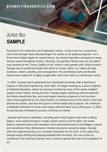 artist biography sle charming artist bio template gallery exle resume and