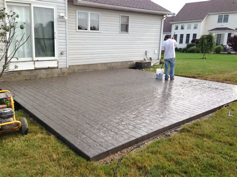 Cozy Look Sted Concrete Patio Pattern With Colors Option For Patio