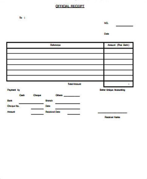 Official Receipt Template by 15 Official Receipt Sles Sle Templates