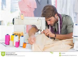 Designer Of Handsome Fashion Designer Sewing Stock Images Image