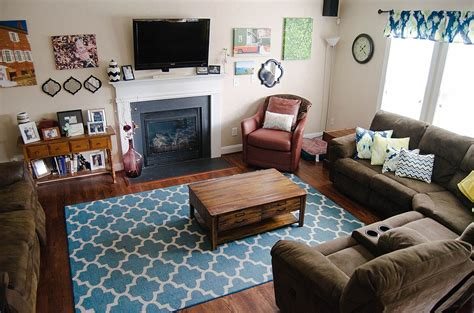 blue brown living room decor home decor our updated living room tour still being