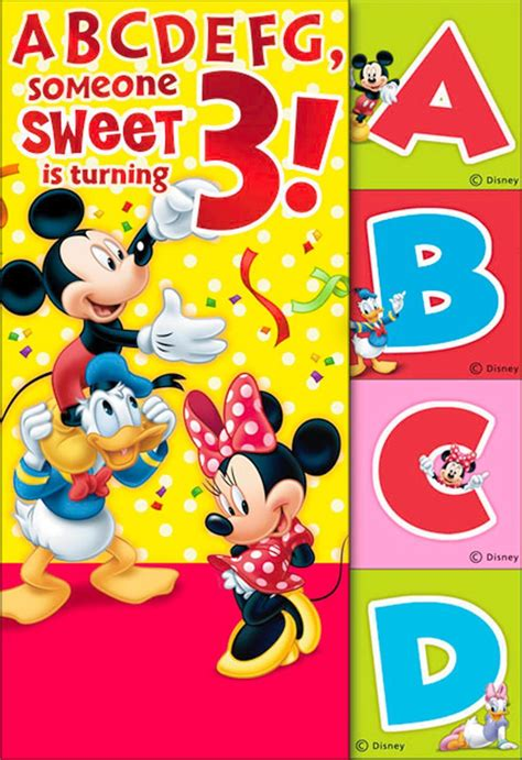 Mickey Mouse Birthday Cards Mickey Mouse 3rd Birthday Card With Flash Cards Greeting