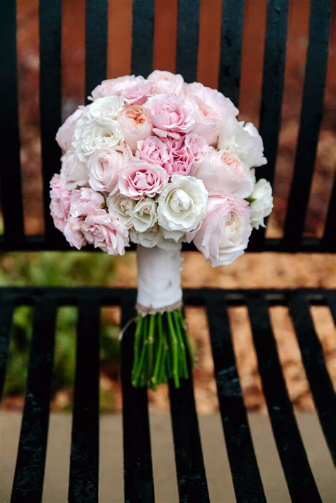 pale pink garden rose  carnation wedding bouquet