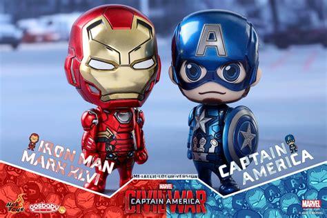 Toys Cosbaby Team Iron Marvel Captain America 3 Civil War the blot says captain america civil war metallic captain america vs iron cosbaby box