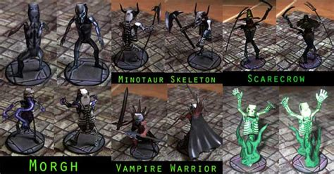 Rpg Papercraft - 6 undead miniature papercrafts for rpg free templates