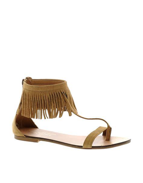 fringe sandals river island suede fringe sandals in brown lyst