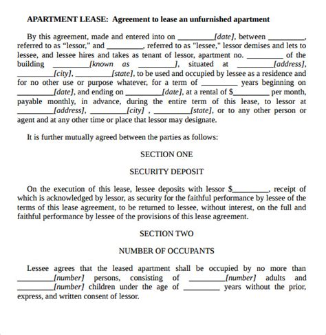 lease agreement template word sle apartment rental agreement template 7 free