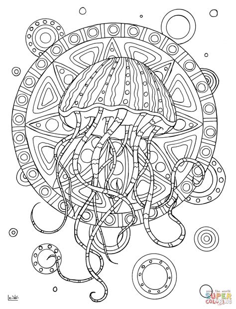 jellyfish coloring page for adults jellyfish with tribal pattern coloring page free