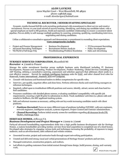 Sle Recruiter Resume by Technical Recruiter Resume Exle Resume Exles Career And Resume Ideas