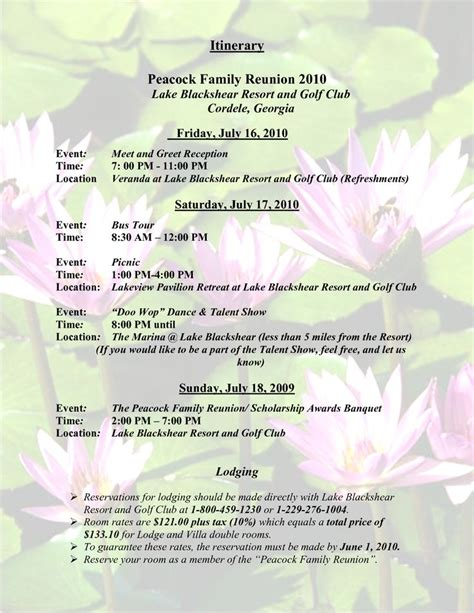 sle family reunion program templates itinerary