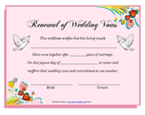 vow card template free printable renewal of wedding vows certificates templates