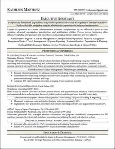 executive assistant resume sles sle resumes resume results