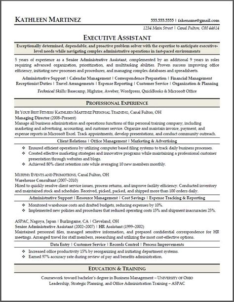 executive assistant sle resume sle resumes resume results