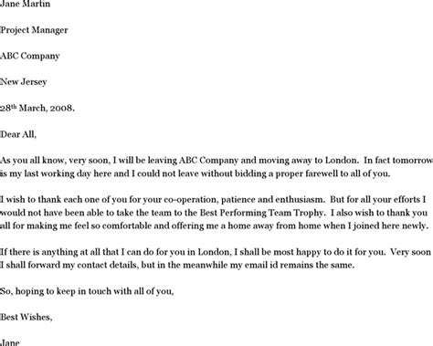 farewell letter to colleagues farewell letter template free speedy template
