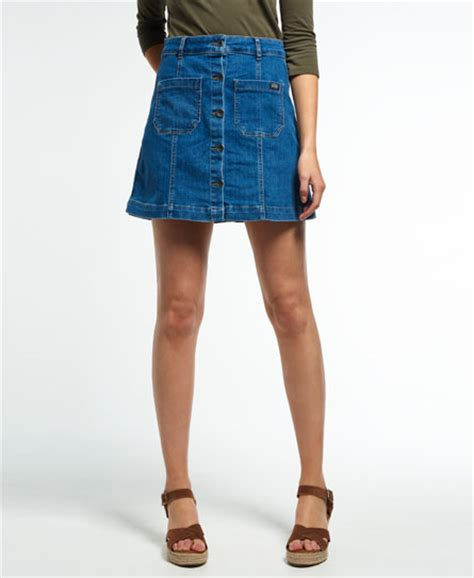 womens a line denim mini skirt in surf wash superdry