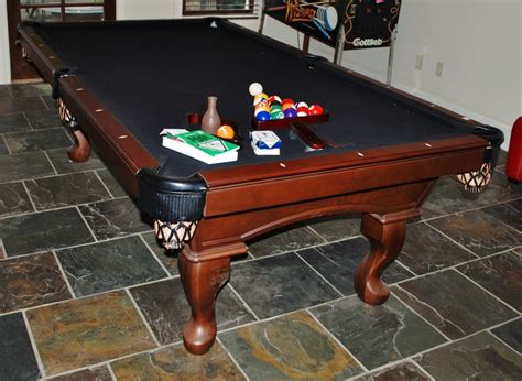 olhausen slate top pool table w leather pockets