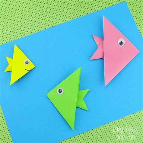 easy paper folding crafts for children easy origami fish origami for easy peasy and