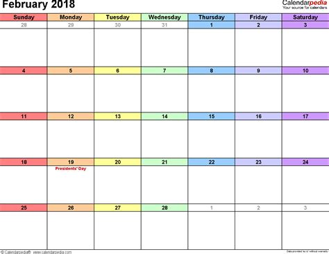 february calendar template february 2018 calendars for word excel pdf