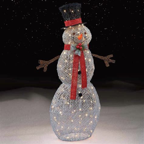 lighted snowman for outside trim a home 174 silver snowman decoration with 150 lights