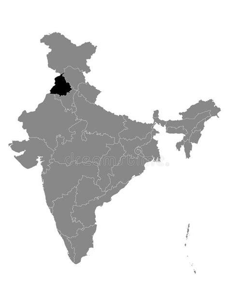 PUNJAB STATE MAP OM SYMBOL HINDU Stock Illustration