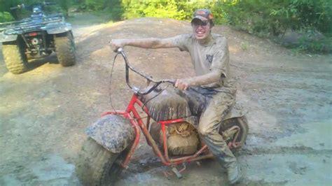 mini bike wipe out mudding (original)   YouTube